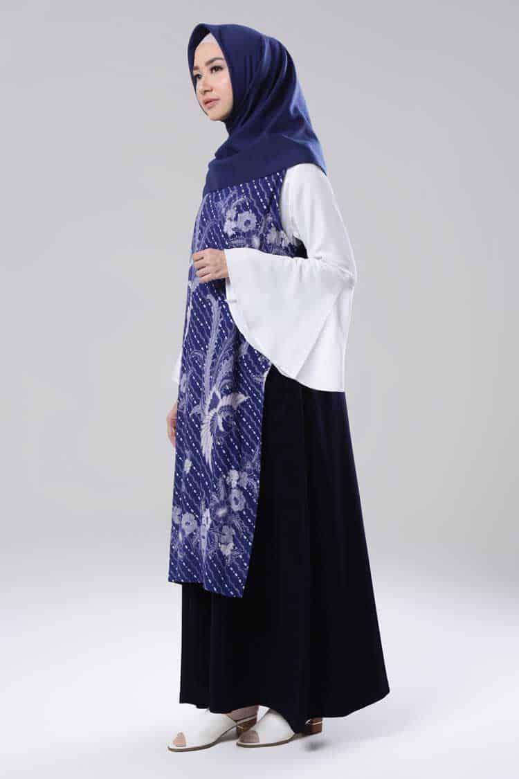 Baju Gamis Batik Kombinasi Polos